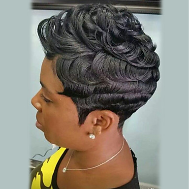 preiswerte Kappenlos-Menschliches Haar Capless Perücken Echthaar Locken Pixie-Schnitt Afro-amerikanische Perücke Kurz Maschinell gefertigt Perücke Damen