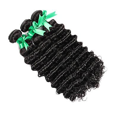 3 חבילות שיער ברזיאלי גל עמוק שיער אנושי טווה שיער אדם שוזרת שיער אנושי 8 א תוספות שיער אדם בגדי ריקוד נשים