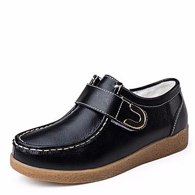 בגדי ריקוד נשים נעליים עור סתיו / חורף נוחות נעלי ספורט שטוח בוהן עגולה לבן / שחור