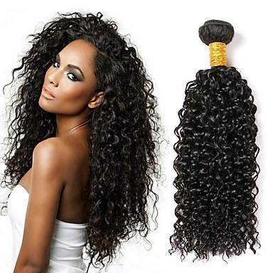 baratos Extensões de Cabelo Natural-4 pacotes Cabelo Brasileiro Kinky Curly 10A Cabelo Virgem Cabelo Humano Ondulado Tramas de cabelo humano Extensões de cabelo humano Mulheres / Crespo Cacheado