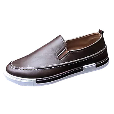 Hombre Zapatos PU Primavera / Otoño Mocasín Zapatos de taco bajo y Slip-On Blanco / Negro / Morrón Oscuro / Zapatos De Vestir hDoqM