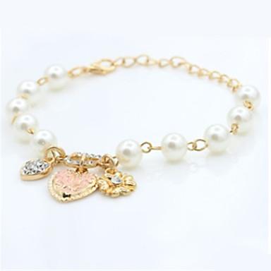billige Motearmbånd-Dame Perle Vedhend Armband Hjerte Mote Imitert Perle Armbånd Smykker Gull Til Daglig