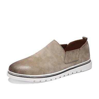 בגדי ריקוד גברים עור חזיר אביב / סתיו נוחות נעליים ללא שרוכים אפור / חום / חאקי
