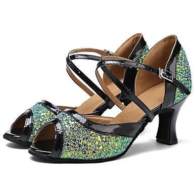 נעליים לטיניות טול סנדלים / עקבים שחבור / Paillette עקב מותאם מותאם אישית נעלי ריקוד ירוק / שחור