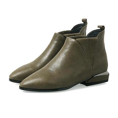 בגדי ריקוד נשים נעליים עור נאפה Leather / עור סתיו / חורף נוחות / מגפיים מגפיים חסום את העקב מגפונים\מגף קרסול שחור / ירוק צבא