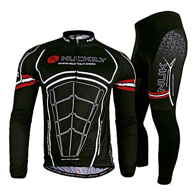 Nuckily בגדי ריקוד גברים שרוול ארוך חולצה וטייץ לרכיבה - שחור אופניים מדים בסטים, ייבוש מהיר, עמיד אולטרה סגול, נושם, תומך זיעה, רצועות