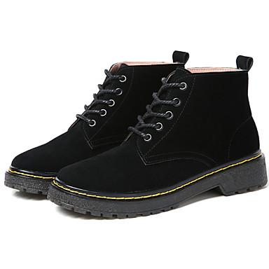 בגדי ריקוד נשים נעליים עור חורף קאובוי / מגפיים מערביים / מגפיי קרב מגפיים שטוח מגפונים\מגף קרסול שחור / אפור / חאקי