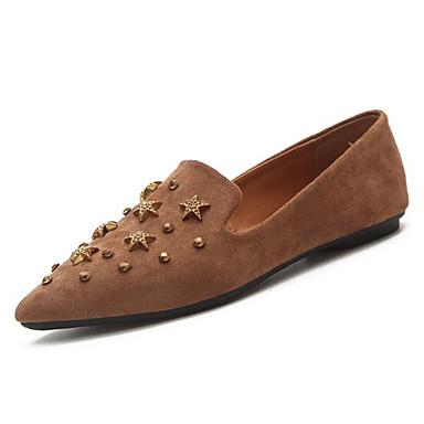 Mujer Zapatos Cuero de Napa Primavera verano Confort / Talón Descubierto Zapatos de taco bajo y Slip-On Tacón Bajo Punta cerrada Negro / Caqui Vz0dtTO