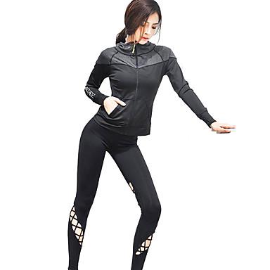 בגדי ריקוד נשים לגזור activewear הגדר - שחור ספורט צמרות ריצה שרוול ארוך לבוש אקטיבי ייבוש מהיר, נשימה, דק מאוד גמישות גבוהה