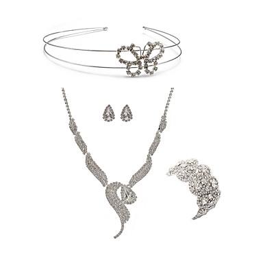 בגדי ריקוד נשים סט תכשיטים - יהלום מדומה פרפר, שועל ארופאי, אופנתי לִכלוֹל לבוש ראש סטי תכשיטי כלה לבן עבור חתונה Party