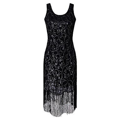 1920s The Great Gatsby Costume Women S Fler Dress Black Golden Vintage Cosplay Polyethylene Short Sleeve