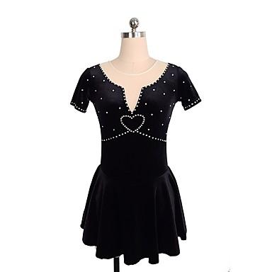 שמלה להחלקה אמנותית בגדי ריקוד נשים / בנות החלקה על הקרח שמלות שחור ספנדקס ביגוד להחלקה על הקרח נצנצית ללא שרוולים החלקה אמנותית