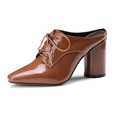 Mujer Zapatos Cuero de Napa / Cuero Primavera / Verano Confort Zuecos y pantuflas Tacón Stiletto Negro / Rojo s1RSXLz