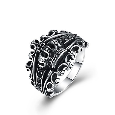 voordelige Herensieraden-Heren Statement Ring Zilver Roestvast staal Titanium Staal Cartoon Modieus Oversized Ceremonie Club Sieraden Kroon