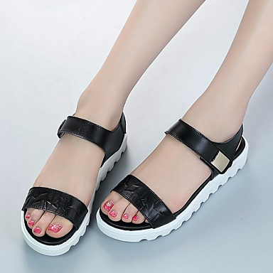 בגדי ריקוד נשים עור אביב / קיץ נוחות סנדלים שטוח לבן / שחור / כחול בהיר