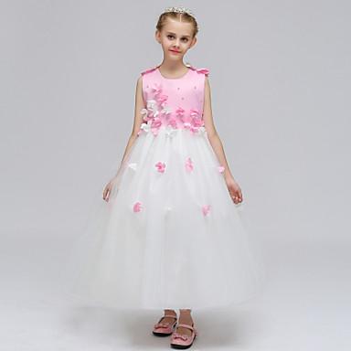 tanie Sukienki dla dziewczynek-Dzieci Dla dziewczynek Święta Urodziny Patchwork Diamentowy wygląd Kwiat Bez rękawów Bawełna Poliester Sukienka Zielony / Śłodkie / Księżniczka