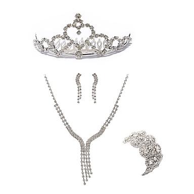 בגדי ריקוד נשים סט תכשיטים - יהלום מדומה ארופאי, אופנתי לִכלוֹל נזרים / סטי תכשיטי כלה לבן עבור חתונה / Party
