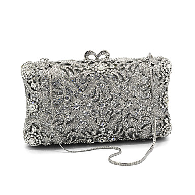0841b30139e79 Women's Bags Glasses / Metal Evening Bag Crystals Floral Print Silver /  Rhinestone Crystal Evening Bags / Rhinestone Crystal Evening Bags