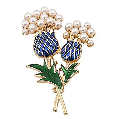 בגדי ריקוד נשים תפס לשיער - דמוי פנינה פרח בסיסי, מתוק סִכָּה זהב עבור יומי