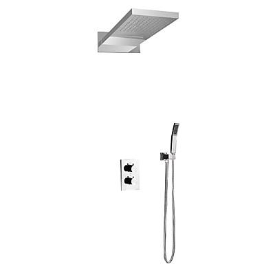 עכשווי מותקן על הקיר מקלחת גשם מפל מים שפורפרת יד כלולה תרמוסטטי שסתום קרמי שתי ידיות שלושה חורים כרום, ברז למקלחת