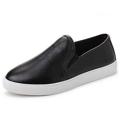 בגדי ריקוד נשים נעליים עור נאפה Leather אביב / קיץ נוחות נעליים ללא שרוכים שטוח לבן / שחור