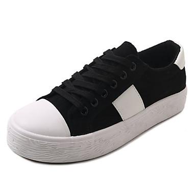 בגדי ריקוד נשים PU אביב / קיץ נוחות נעלי ספורט שטוח בוהן עגולה לבן / שחור / בז'