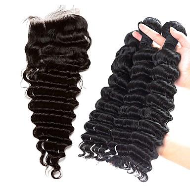 baratos Extensões de Cabelo Natural-3 pacotes com fechamento Cabelo Brasileiro Onda Profunda 8A Cabelo Humano Trama do cabelo com Encerramento Tramas de cabelo humano Extensões de cabelo humano