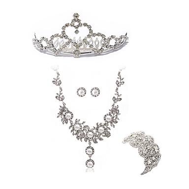 בגדי ריקוד נשים סט תכשיטים - יהלום מדומה ארופאי, אופנתי לִכלוֹל נזרים סטי תכשיטי כלה לבן עבור חתונה Party