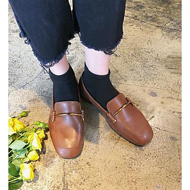 On Marrón Confort taco y Primavera Negro Zapatos PU de Plano 06475271 Slip Zapatos Dedo bajo Tacón Mujer cuadrada Aawvqx