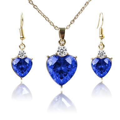 בגדי ריקוד נשים סט תכשיטים - ציפוי זהב קלסי, אופנתי לִכלוֹל שרשרת כחול עבור Party / יומי