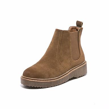 בגדי ריקוד נשים נעליים עור סתיו / חורף מגפיי קרב מגפיים עקב עבה בוהן עגולה מגפונים\מגף קרסול שחור / חום