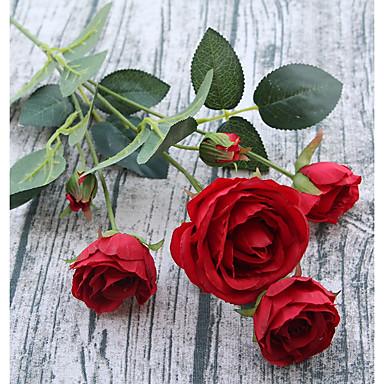 פרחים מלאכותיים 1 ענף פסטורלי סגנון ורדים פרחים לשולחן