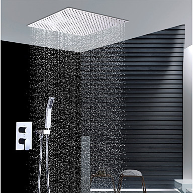 עכשווי התקנת קיר מקלחת גשם שפורפרת יד כלולה שסתום קרמי שתי ידיות שלושה חורים כרום, ברז למקלחת