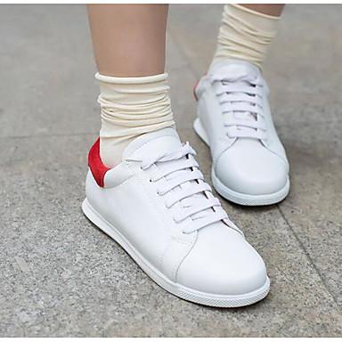 בגדי ריקוד נשים PU אביב / סתיו נוחות נעלי ספורט שטוח בוהן עגולה שחור / אדום