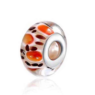 תכשיטים DIY 1 יח חרוזים זכוכית כסוף כתום כדור חָרוּז 1.5 cm עשה זאת בעצמך שרשראות צמידים