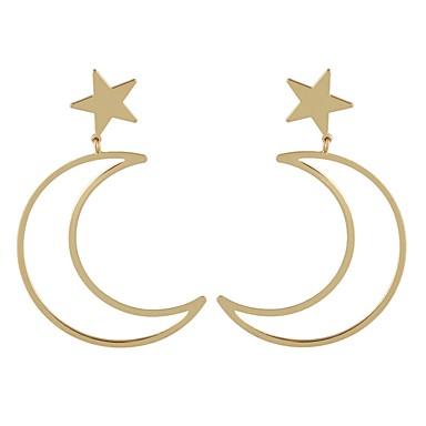 בגדי ריקוד נשים עגילי טיפה - MOON, כוכב פשוט, בסיסי זהב / כסף עבור יומי / פגישה (דייט)
