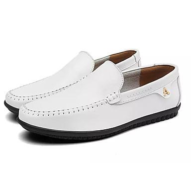 בגדי ריקוד גברים לבש נעליים PU אביב / סתיו נעליים ללא שרוכים לבן / שחור / חום כהה / מוקסין