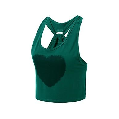 בגדי ריקוד נשים עם רצועות איקס גופיה לריצה - צהוב, ירוק ספורט עליונית טנק לבוש אקטיבי נשימה סטרצ'י (נמתח)