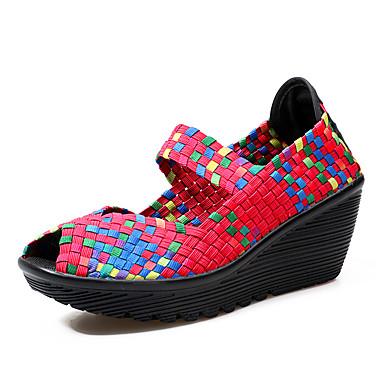 בגדי ריקוד נשים נעליים PU אביב / סתיו נוחות סנדלים עקב טריז בוהן מציצה סגול / פוקסיה / ירוק