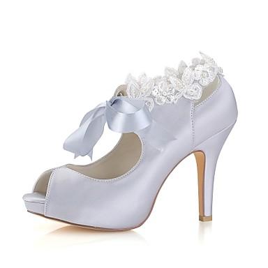 Primavera Pump Elástico Zapatos Mujer Básico Verano Satén 41OOxT
