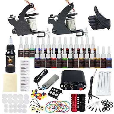 Dövme Makinesi Başlangıç Kiti 2 x Çizgi ve gölgelendirme için Alaşımlı Dövme Makinesi Mini güç kaynağı 2 x Alüminyum tutacak (Grip) 20