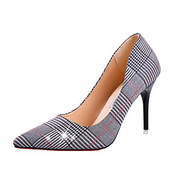 בגדי ריקוד נשים נעליים PU אביב נוחות עקבים עקב סטילטו בוהן מחודדת זהב / שחור