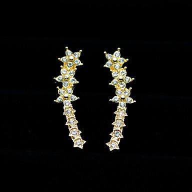 בגדי ריקוד נשים זירקונה מעוקבת עגילים צמודים - זירקון כוכב מתוק, אופנתי זהב / כסף עבור Party / יומי