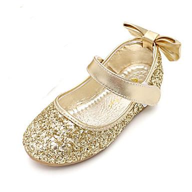 baratos Sapatos de Criança-Para Meninas Glitter Rasos Little Kids (4-7 anos) Conforto / Inovador / Sapatos para Daminhas de Honra Laço / Velcro Dourado / Prata Primavera / Outono / Festas & Noite / Borracha