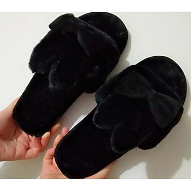 Zapatillas flip Tacón y Plano Aterciopelado Gris Melocotón Confort flops Zapatos Rosa Otoño 06471892 Mujer Invierno qpxzXXB