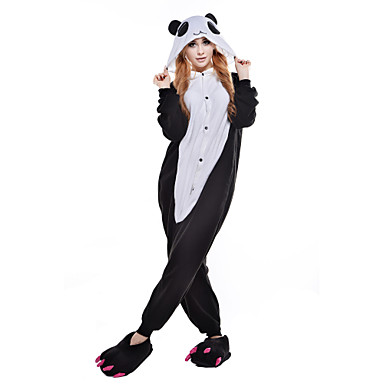 Kigurumi-pyjama Synkkä karhu Karhu Pesukarhu Pyjamahaalarit Asu Polar Fleece Musta Cosplay varten Animal Sleepwear Sarjakuva Halloween