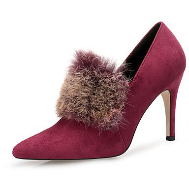 בגדי ריקוד נשים נעליים נוצות\פרווה / עדרים סתיו / חורף מגפיים אופנתיים מגפיים עקב סטילטו בוהן מחודדת נוצות שחור / ירוק / בורדו / שמלה