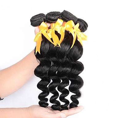 baratos Extensões de Cabelo Natural-4 pacotes Cabelo Brasileiro Ondulação Larga 10A Cabelo Virgem Cabelo Humano Ondulado Tramas de cabelo humano Extensões de cabelo humano Mulheres
