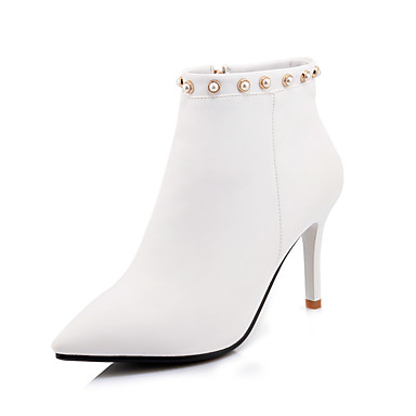 Women's Shoes Microfiber Fall / Winter Fashion Boots / Bootie Toe Boots High Heel Pointed Toe Bootie Booties / Ankle Boots Imitation Pearl White / 1bf1b7