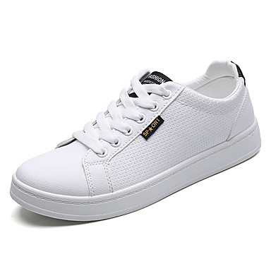 בגדי ריקוד גברים PU אביב / סתיו נוחות נעלי ספורט לבן / שחור לבן